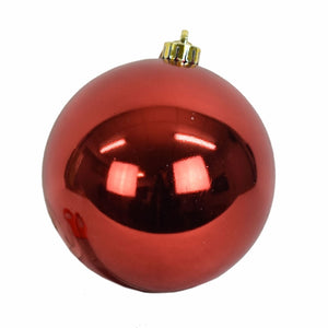 "6"" VP UV Resistant Shiny Ball Ornament in Red"