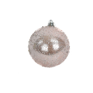 "4"" Faux Glass Beaded VP Ball Ornament in Blush"