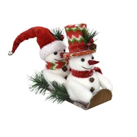 "7.75"" Winter Wonder Snowmen Sledding"