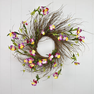 "24"" Spring Wreath with Wild Flowers Lavender/Yellow/Magenta"