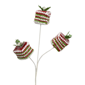 "23"" Chenille Gift Box Spray in Red/Green/White"