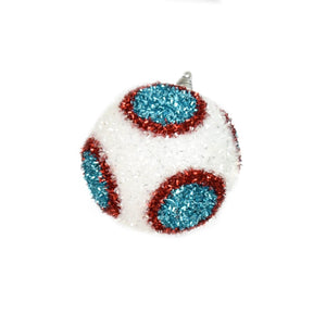 "4"" Dot Cut Tinsel Ball Ornament in White/Red/Blue"