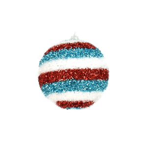 "4"" Horizontal Stripe Cut Tinsel Ball Ornament in White/Red/Blue"
