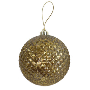 "6"" Vintage Diamond Pattern Ball Ornament in Antique Bronze"