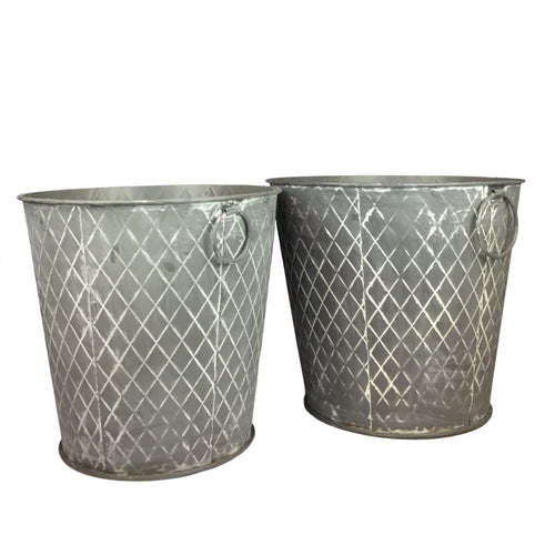 Quilted Metal Buckets, Choose from 2 sizes