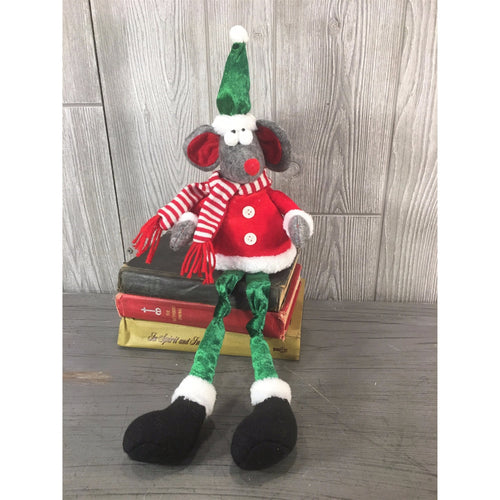 "21"" Fabric Sitting Christmas Mouse in Red/Green"