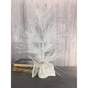 "26"" Glitter Lone Needle Pine Tree with Burlap Base (battery LED light pack) in White"