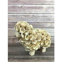 "9"" X 7.5"" Wood Flower Curl Sheep"