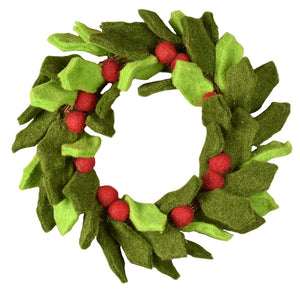 "9.45"" Wool Holly Berry Candle Ring Wreath"