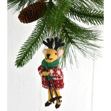 "Load image into Gallery viewer, 5.5"" - 6"" Wool Mouse, Deer, Bear Ornaments (3 Asst.)"