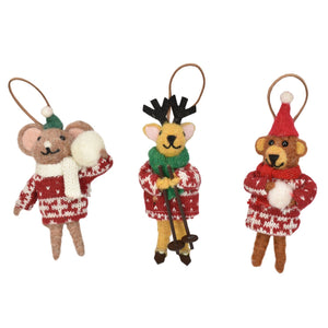 "5.5"" - 6"" Wool Mouse, Deer, Bear Ornaments (3 Asst.)"