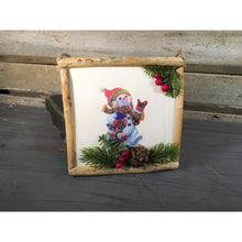 "Load image into Gallery viewer, 7"" Square Rustic Snowman / Penguin Frame Ornament"