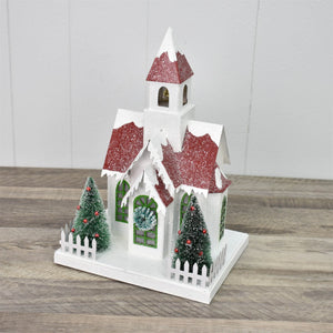 "12"" Snow Pine Village Style Light Up Church in Red"