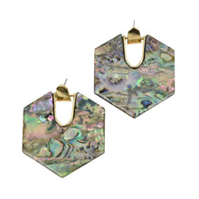 Load image into Gallery viewer, Roxanne Marble Earrings in Green Marble