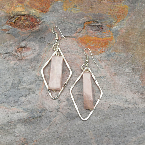 Anju- Silver Diamond-Shaped Earrings