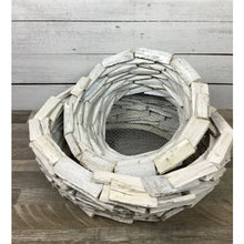 Load image into Gallery viewer, Stacked Driftwood Round Planter in White Washed Finish, 2 sizes