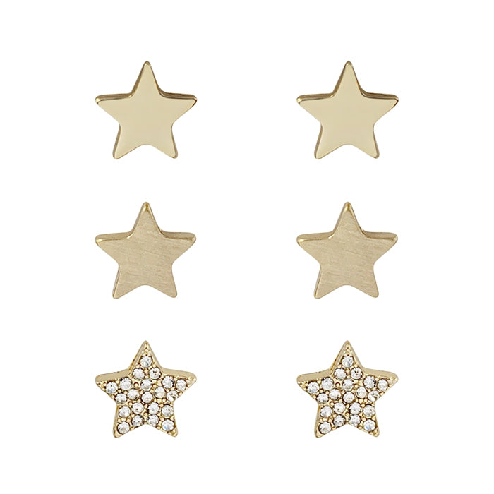 Gold Star and Rhinestone Star Set of 3 Stud Earring