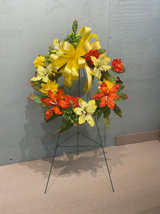 Memorial wreath on stand