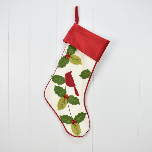 Cardinal and Mistletoe Stocking