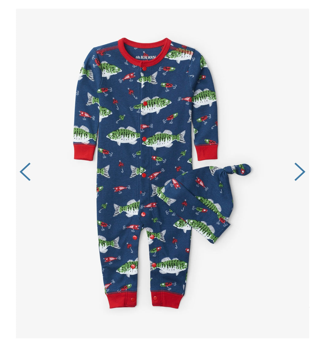 Gone Fishing Baby Coverall & Hat