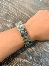 Load image into Gallery viewer, Magnetic Black Snake Print Faux Leather Bracelet with Gold Chain