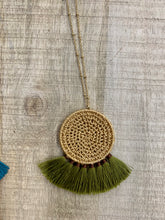 Load image into Gallery viewer, Rattan Disc Fan Necklace (Mustard, Teal, Olive)
