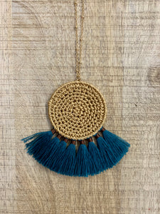 Rattan Disc Fan Necklace (Mustard, Teal, Olive)