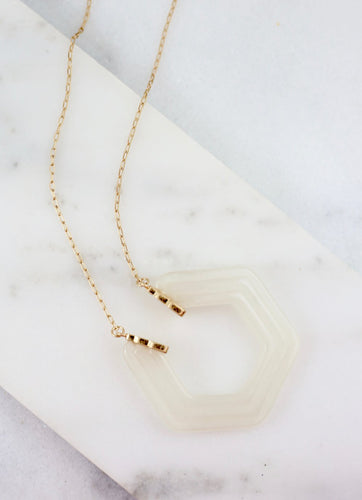 Flik Long Necklace with Open Hexagon Pendant