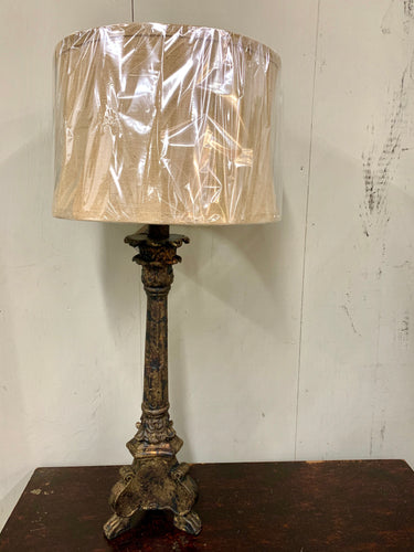 Large Lamp with Old World Finish and Round Burlap Shade