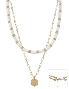 White and Gold Layered Necklace