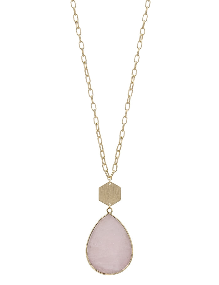 Pink Natural Stone Teardrop and Gold 32