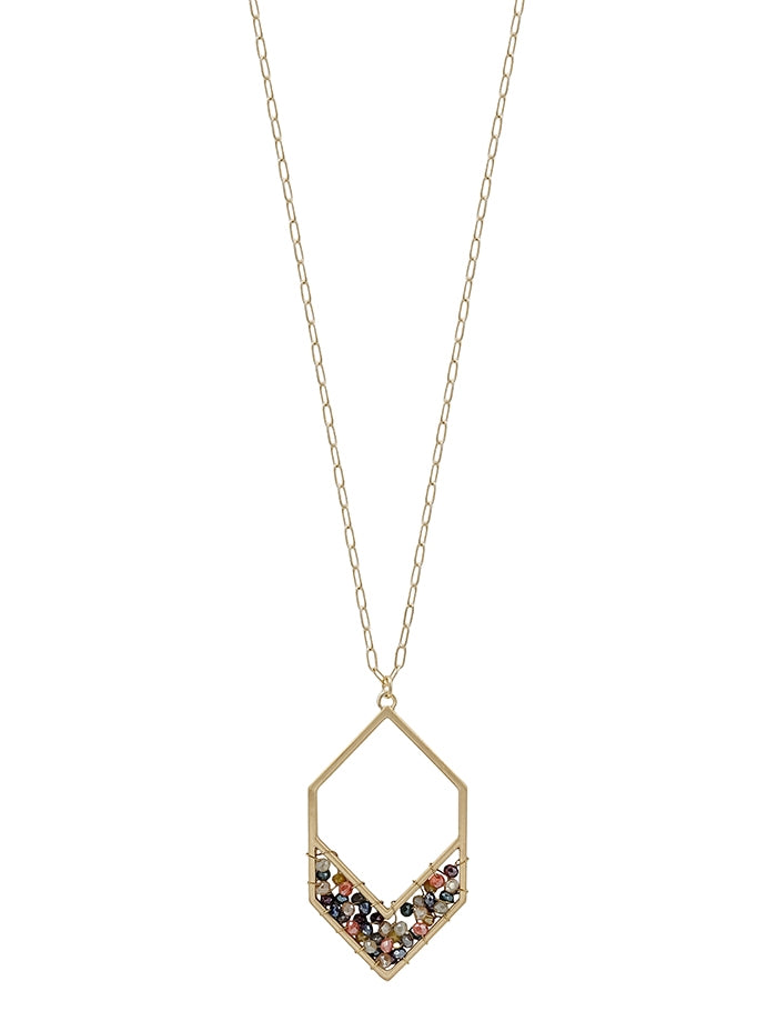 Multi Crystal Hexagon on Gold Chain 34
