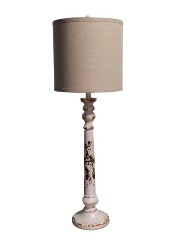 White Distressed Table Lamp with Burlap Shade