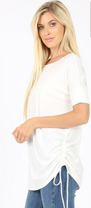 Plus Size Short Sleeve Top with Ruched Top in Ivory
