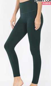 Fleece High Waisted Leggings in Hunter Green