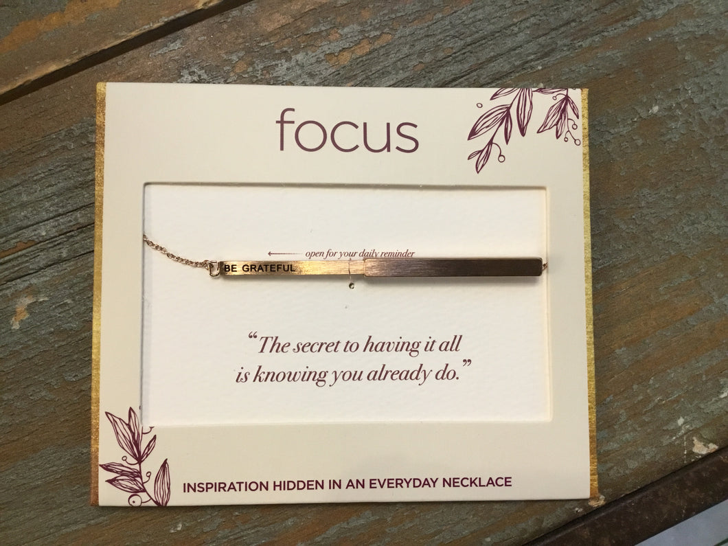 Focus Necklace -Be Grateful in Rose Gold