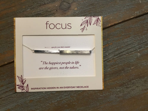 Focus Necklace - Be A Giver in Silver