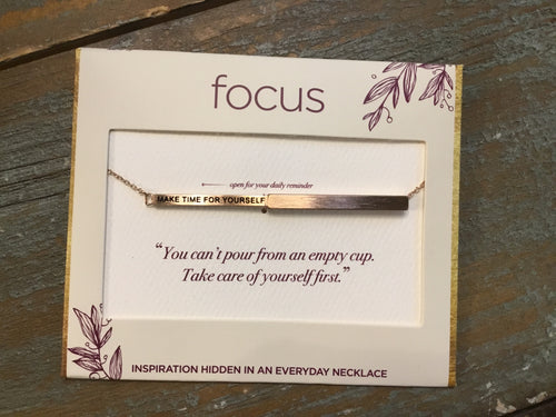 Focus Necklace - Make Time For Yourself in Rose Gold
