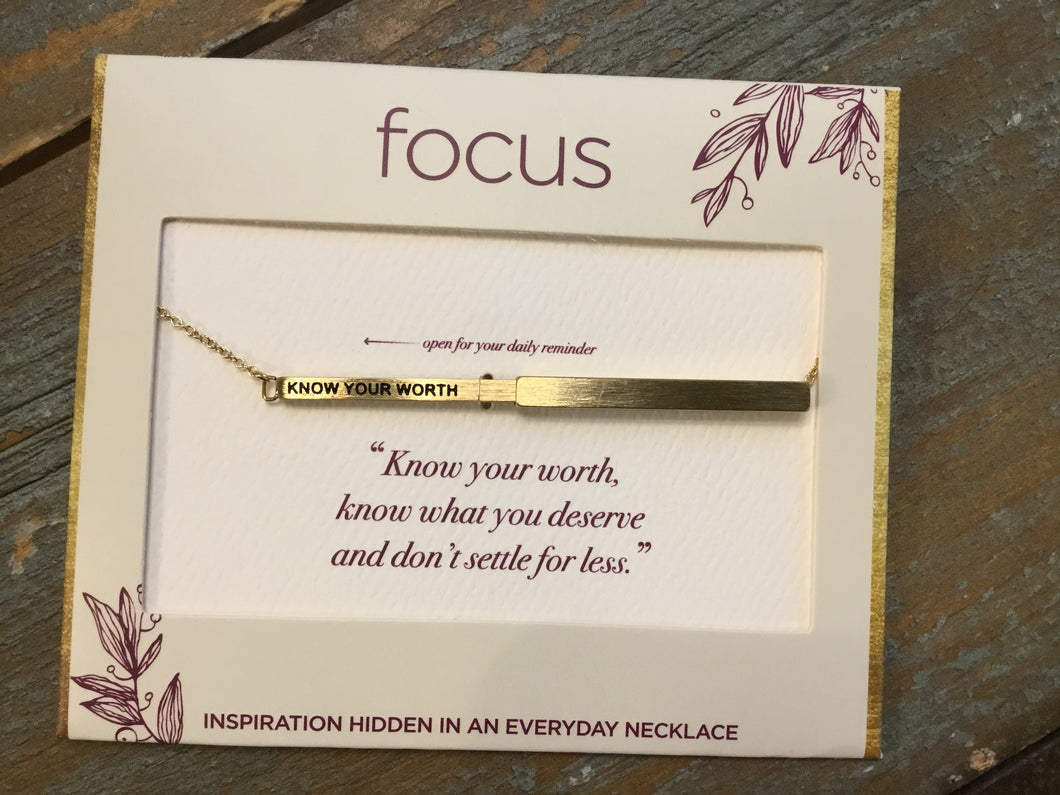Focus Necklace - Know Your Worth in Gold