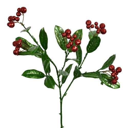 "31"" Osmanthus Leaves/Berries Pick in Green/Red"