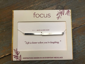 Focus Necklace - Laugh Often in Silver