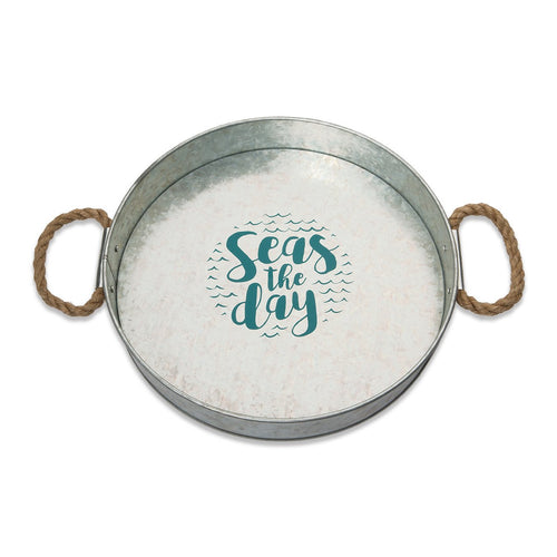 Seas the Day Galvanized Serving Tray
