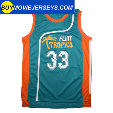 Semi-Pro Flint Tropics Jackie Moon #33  Basketball Movie Jersey Green Color