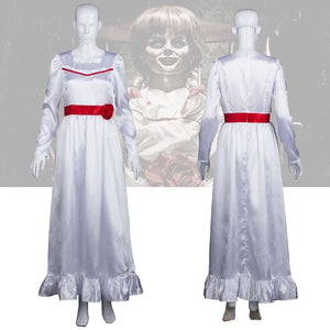 The Conjuring Doll Annabelle Cosplay Costume Halloween Horror Fancy White Dress