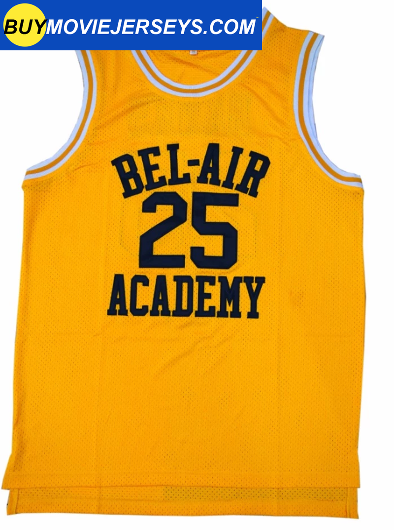 The Fresh Prince of Bel-air Academy Basketball Jersey #25  Carlton Banks Yellow