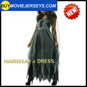 Ladies Zombie Graveyard Corpse Bride Costume Womens Horror