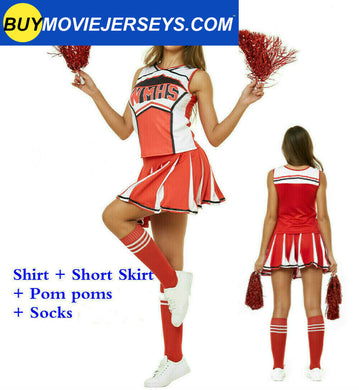 Ladies Glee Cheerleader Movie Costume School Girls Full Outfits Fancy Dress Up