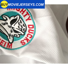Load image into Gallery viewer, The Might Ducks Movie Hockey Jersey Adam Banks  # 99 Forward White Color