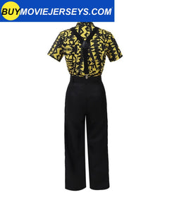 Girl Stranger Things 3 Eleven Shirt Cosplay Costume Yellow Shirt with Suspenders
