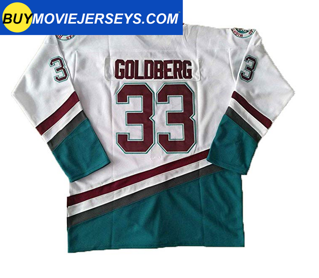The Might Ducks Movie Hockey Jersey Greg Goldberg  # 33 Goalie White Color